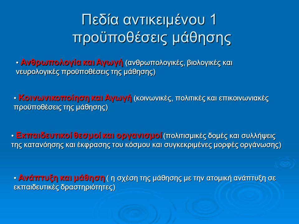 Πεδία αντικειμένου 1 προϋποθέσεις μάθησης Ανθρωπολογία και Αγωγή (ανθρωπολογικές, βιολογικές και Ανθρωπολογία και Αγωγή (ανθρωπολογικές, βιολογικές και νευρολογικές προϋποθέσεις της μάθησης) Κοινωνικοποίηση και Αγωγή (κοινωνικές, πολιτικές και επικοινωνιακές προϋποθέσεις της μάθησης) Κοινωνικοποίηση και Αγωγή (κοινωνικές, πολιτικές και επικοινωνιακές προϋποθέσεις της μάθησης) Εκπαιδευτικοί θεσμοί και οργανισμοί (πολιτισμικές δομές και συλλήψεις της κατανόησης και έκφρασης του κόσμου και συγκεκριμένες μορφές οργάνωσης) Εκπαιδευτικοί θεσμοί και οργανισμοί (πολιτισμικές δομές και συλλήψεις της κατανόησης και έκφρασης του κόσμου και συγκεκριμένες μορφές οργάνωσης) Ανάπτυξη και μάθηση ( η σχέση της μάθησης με την ατομική ανάπτυξη σε εκπαιδευτικές δραστηριότητες) Ανάπτυξη και μάθηση ( η σχέση της μάθησης με την ατομική ανάπτυξη σε εκπαιδευτικές δραστηριότητες)