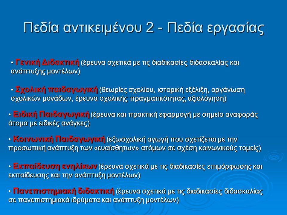 Πεδίο αντικείμενου 3 – θεωρητικό υπόβαθρο Θεωρίες της Παιδαγωγικής Επιστήμης (στοχασμός σχετικά με τα θεωρητικά σχήματα και τη συγκρότηση διαφοροποιημένων κλάδων) Θεωρίες της Παιδαγωγικής Επιστήμης (στοχασμός σχετικά με τα θεωρητικά σχήματα και τη συγκρότηση διαφοροποιημένων κλάδων) Παιδαγωγική έρευνα (παιδαγωγικοί μέθοδοι έρευνας για την καταγραφή και την ανάλυση της εκπαιδευτικής πραγματικότητας) Παιδαγωγική έρευνα (παιδαγωγικοί μέθοδοι έρευνας για την καταγραφή και την ανάλυση της εκπαιδευτικής πραγματικότητας) Ιστορία της Παιδαγωγικής Επιστήμης (1.