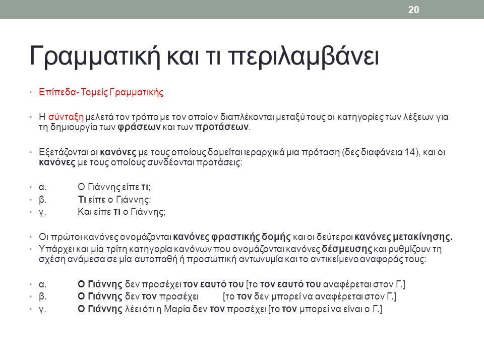 Γραμματική και τι περιλαμβάνει Επίπεδα- Τομείς Γραμματικής Η σύνταξη μελετά τον τρόπο με τον οποίον διαπλέκονται μεταξύ τους οι κατηγορίες των λέξεων