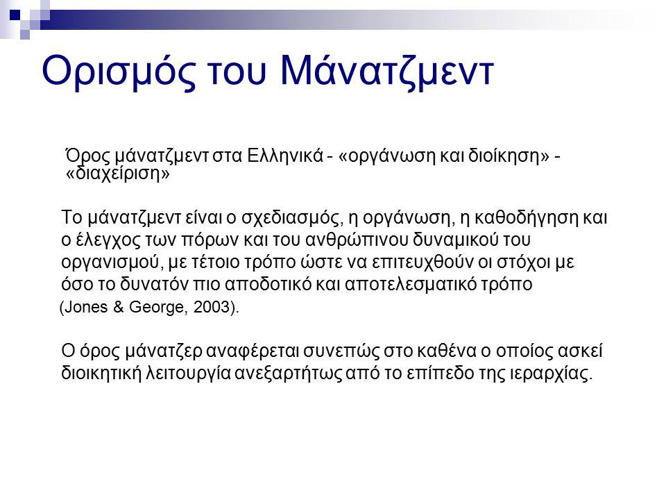 Ορισμός του Μάνατζμεντ Όρος μάνατζμεντ στα Ελληνικά - «οργάνωση και διοίκηση» - «διαχείριση» Το μάνατζμεντ είναι ο σχεδιασμός, η οργάνωση, η καθοδήγησ