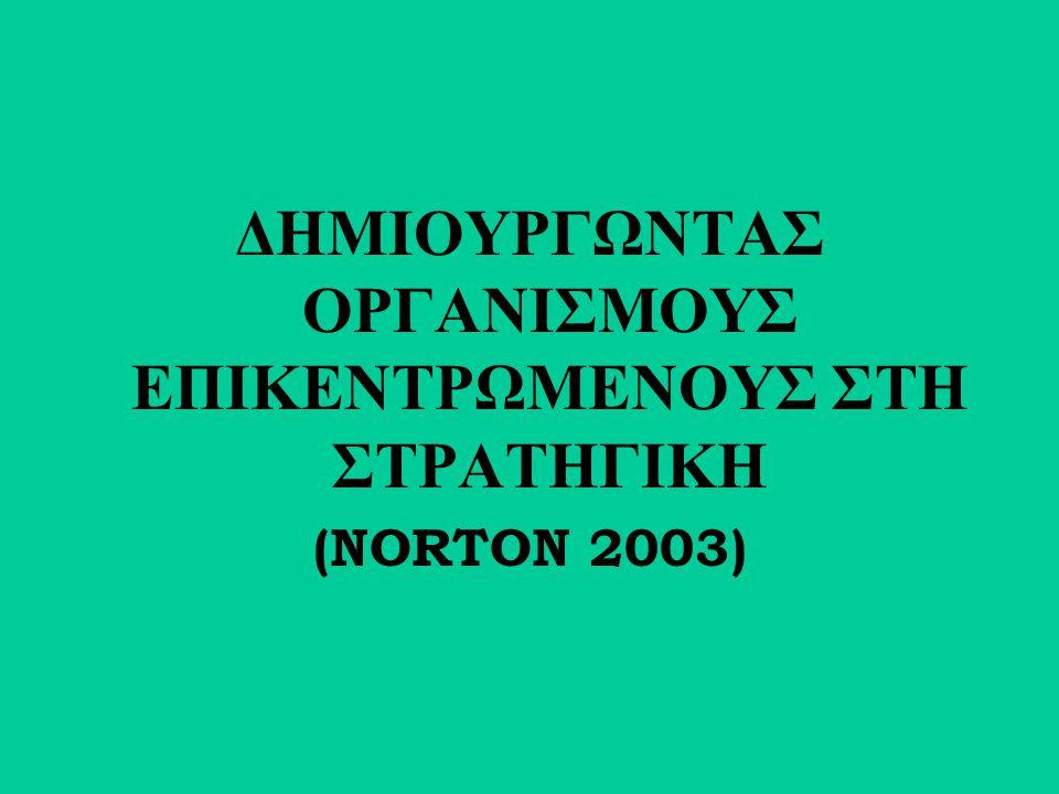 ΔΗΜΙΟΥΡΓΩΝΤΑΣ ΟΡΓΑΝΙΣΜΟΥΣ ΕΠΙΚΕΝΤΡΩΜΕΝΟΥΣ ΣΤΗ ΣΤΡΑΤΗΓΙΚΗ (NORTON 2003)