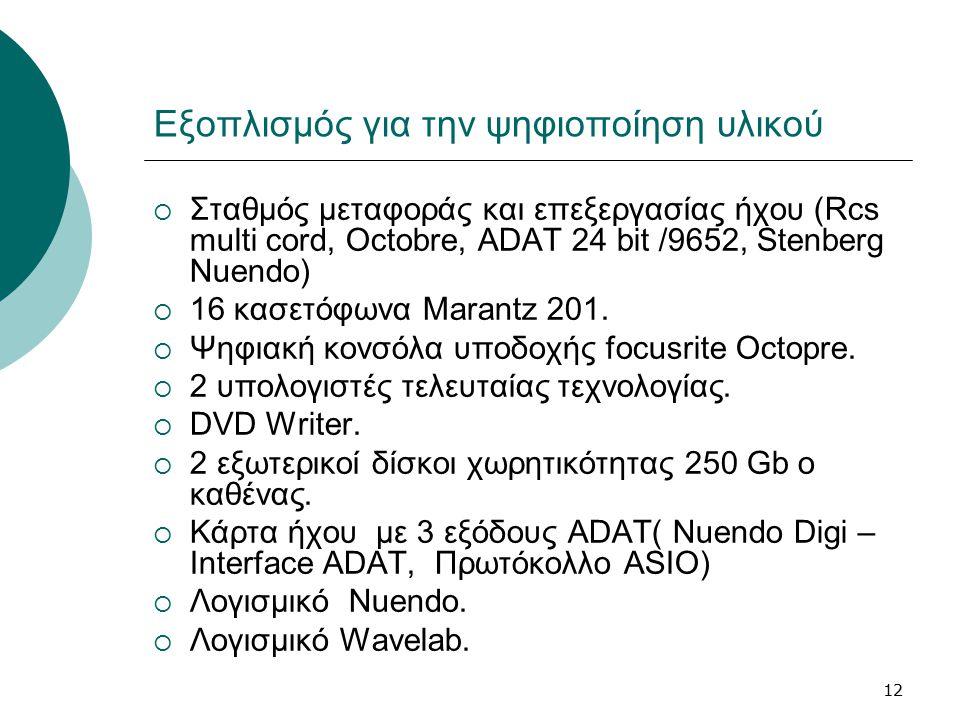 12 Εξοπλισμός για την ψηφιοποίηση υλικού  Σταθμός μεταφοράς και επεξεργασίας ήχου (Rcs multi cord, Octobre, ADAT 24 bit /9652, Stenberg Nuendo)  16 κασετόφωνα Marantz 201.