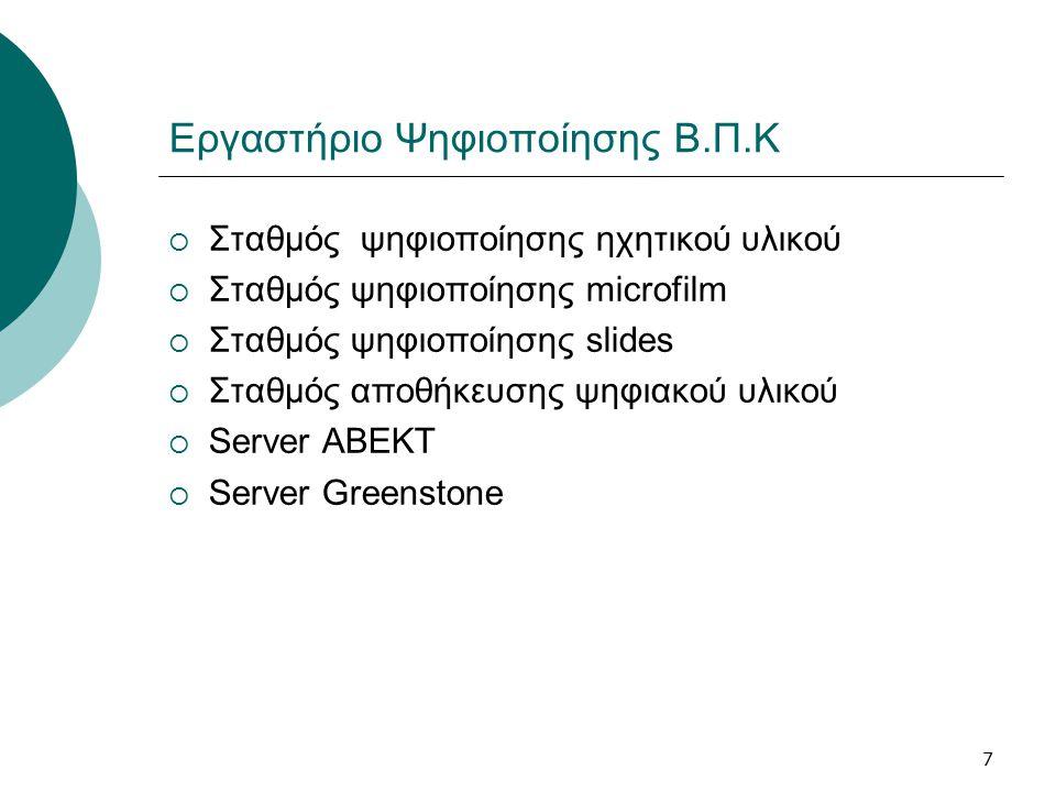 7 Εργαστήριο Ψηφιοποίησης Β.Π.Κ  Σταθμός ψηφιοποίησης ηχητικού υλικού  Σταθμός ψηφιοποίησης microfilm  Σταθμός ψηφιοποίησης slides  Σταθμός αποθήκευσης ψηφιακού υλικού  Server ABEKT  Server Greenstone