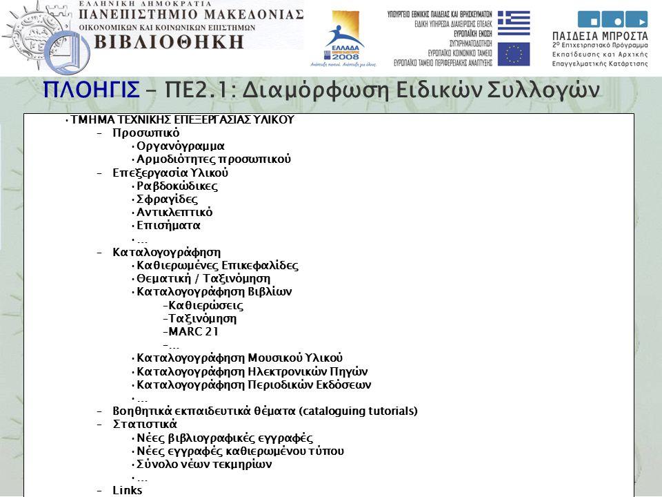 Εγνατία 156, Τ.Θ. 1591, 540 06 Θεσσαλονίκη, Τηλ. 2310 891.751-2, Fax 2310 857.794 ΠΛΟΗΓΙΣ - ΠΕ2.1: Διαμόρφωση Ειδικών Συλλογών ΤΜΗΜΑ ΤΕΧΝΙΚΗΣ ΕΠΕΞΕΡΓΑ