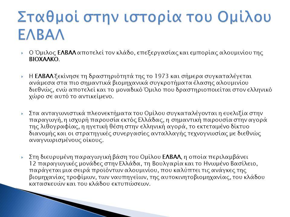  Ο Όμιλος ΕΛΒΑΛ αποτελεί τον κλάδο, επεξεργασίας και εμπορίας αλουμινίου της ΒΙΟΧΑΛΚΟ.