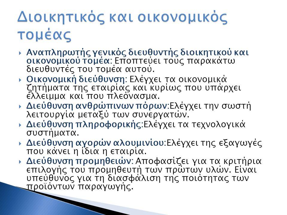  Αναπληρωτής γενικός διευθυντής διοικητικού και οικονομικού τομέα: Εποπτεύει τους παρακάτω διευθυντές του τομέα αυτού.  Οικονομική διεύθυνση: Ελέγχε