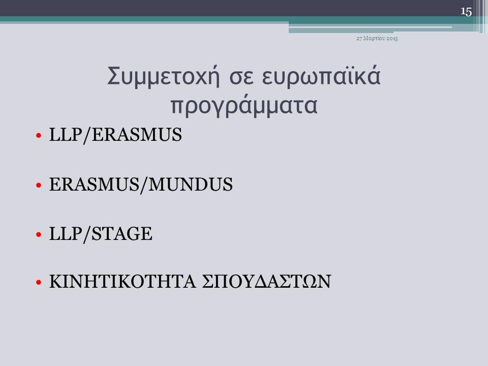Συμμετοχή σε ευρωπαϊκά προγράμματα LLP/ERASMUS ERASMUS/MUNDUS LLP/STAGE ΚΙΝΗΤΙΚΟΤΗΤΑ ΣΠΟΥΔΑΣΤΩΝ 15 27 Μαρτίου 2015