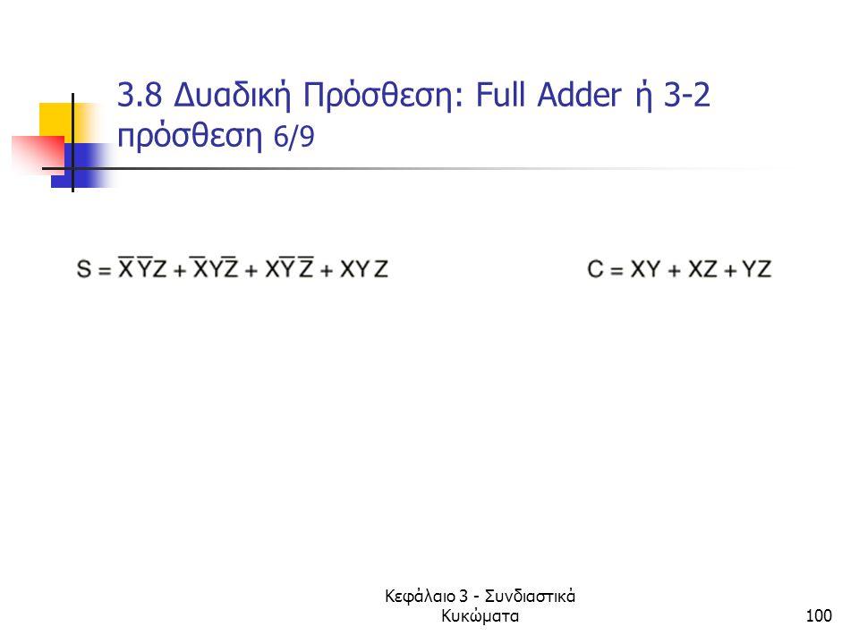 Κεφάλαιο 3 - Συνδιαστικά Κυκώματα100 3.8 Δυαδική Πρόσθεση: Full Adder ή 3-2 πρόσθεση 6/9