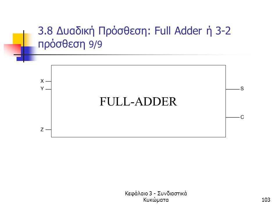 Κεφάλαιο 3 - Συνδιαστικά Κυκώματα103 3.8 Δυαδική Πρόσθεση: Full Adder ή 3-2 πρόσθεση 9/9 FULL-ADDER