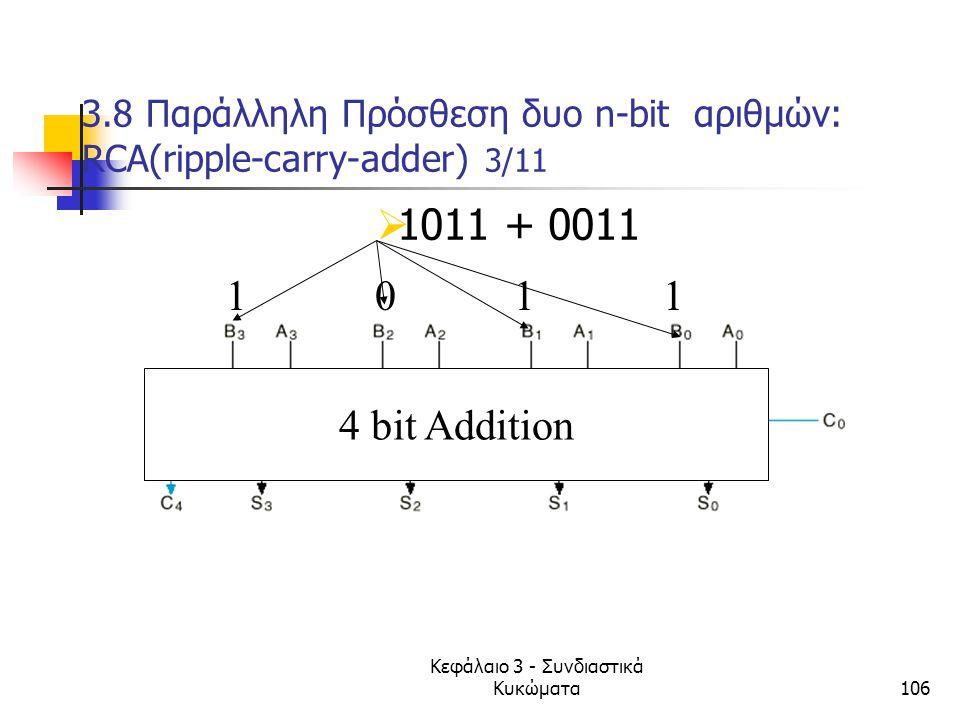 Κεφάλαιο 3 - Συνδιαστικά Κυκώματα106 3.8 Παράλληλη Πρόσθεση δυο n-bit αριθμών: RCA(ripple-carry-adder) 3/11 4 bit Addition 1 0 1 1  1011 + 0011