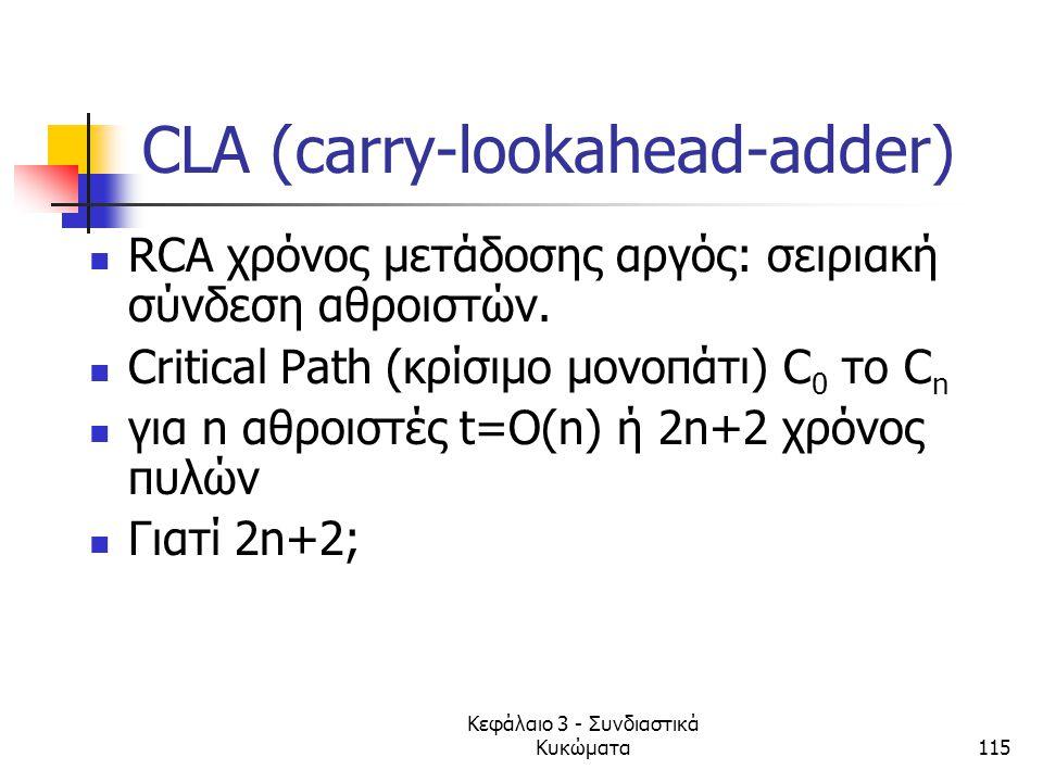 Κεφάλαιο 3 - Συνδιαστικά Κυκώματα115 CLA (carry-lookahead-adder) RCA χρόνος μετάδοσης αργός: σειριακή σύνδεση αθροιστών. Critical Path (κρίσιμο μονοπά