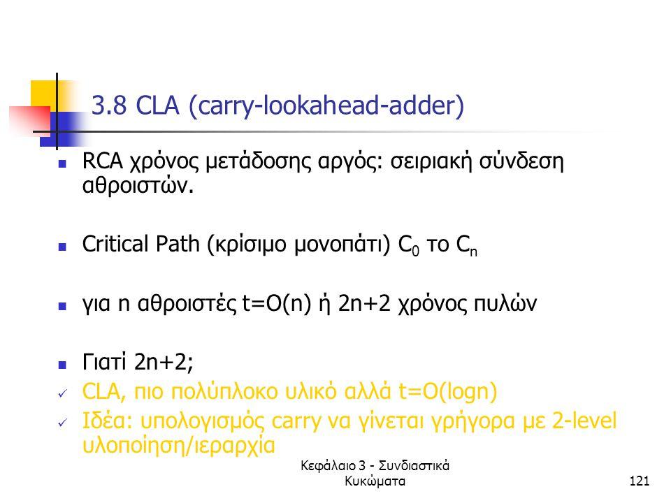 Κεφάλαιο 3 - Συνδιαστικά Κυκώματα121 3.8 CLA (carry-lookahead-adder) RCA χρόνος μετάδοσης αργός: σειριακή σύνδεση αθροιστών. Critical Path (κρίσιμο μο