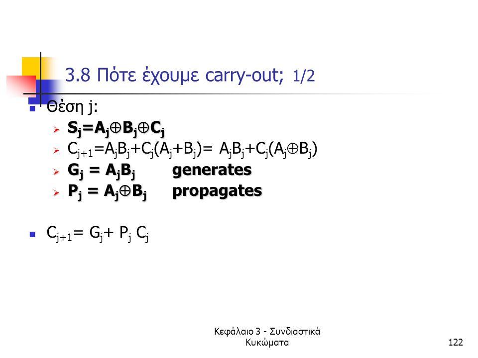 Κεφάλαιο 3 - Συνδιαστικά Κυκώματα122 3.8 Πότε έχουμε carry-out; 1/2 Θέση j: SSSSj=AjBjCj CC j+1 =A j B j +C j (A j +B j )= A j B j +C j (A j 