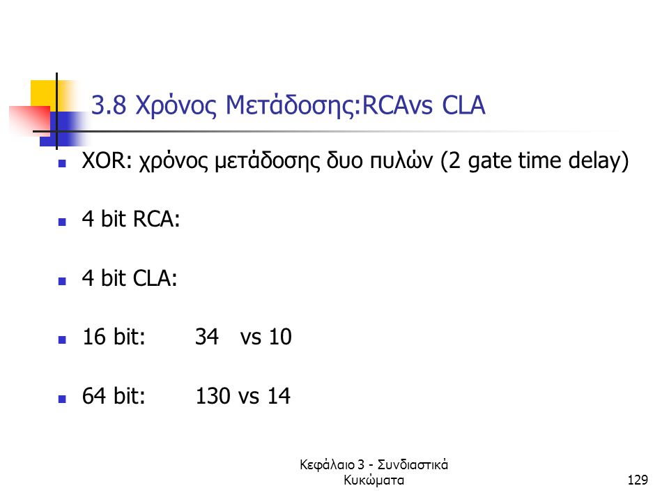 Κεφάλαιο 3 - Συνδιαστικά Κυκώματα129 3.8 Xρόνος Μετάδοσης:RCAvs CLA XOR: χρόνος μετάδοσης δυο πυλών (2 gate time delay) 4 bit RCA: 4 bit CLA: 16 bit:
