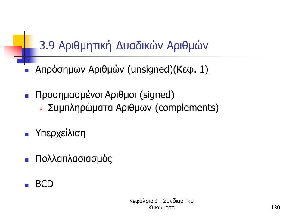 Κεφάλαιο 3 - Συνδιαστικά Κυκώματα130 3.9 Αριθμητική Δυαδικών Αριθμών Απρόσημων Αριθμών (unsigned)(Κεφ. 1) Προσημασμένοι Αριθμοι (signed)  Συμπληρώματ