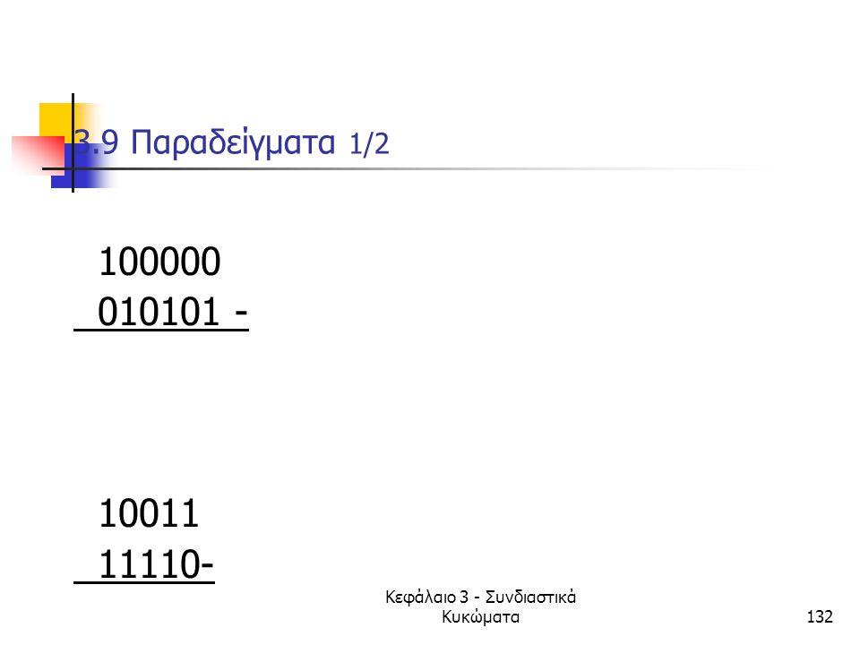 Κεφάλαιο 3 - Συνδιαστικά Κυκώματα132 3.9 Παραδείγματα 1/2 100000 010101 - 10011 11110-