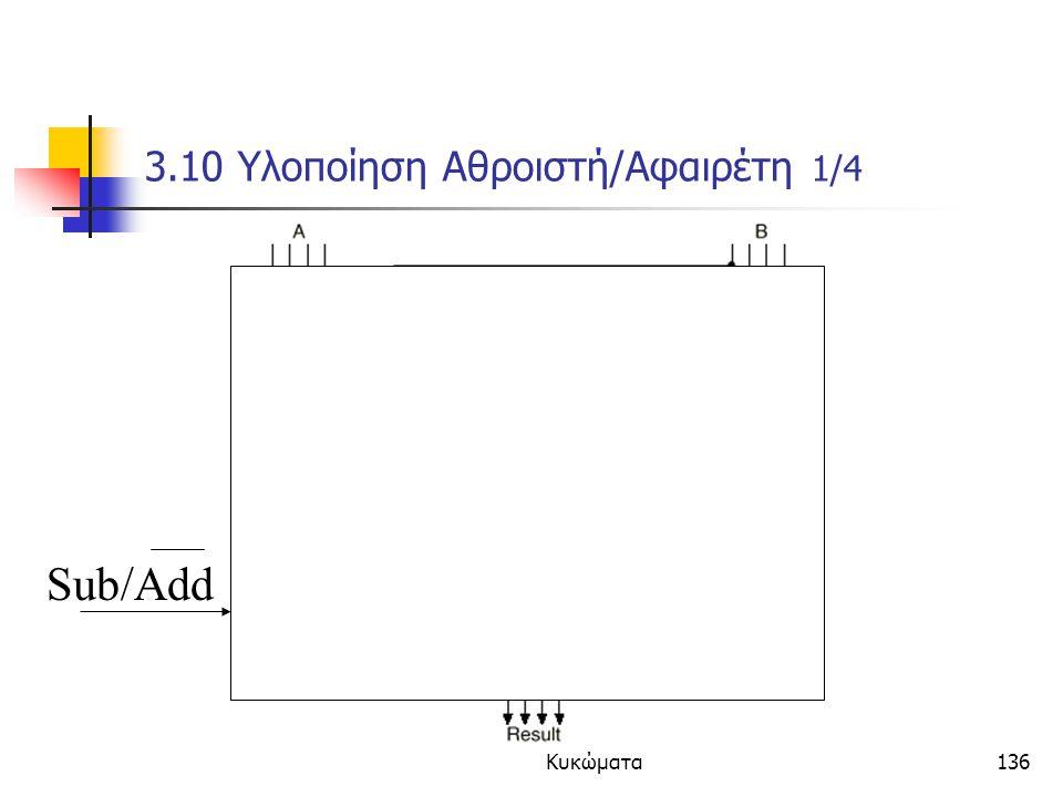Κεφάλαιο 3 - Συνδιαστικά Κυκώματα136 3.10 Υλοποίηση Αθροιστή/Αφαιρέτη 1/4 Sub/Add