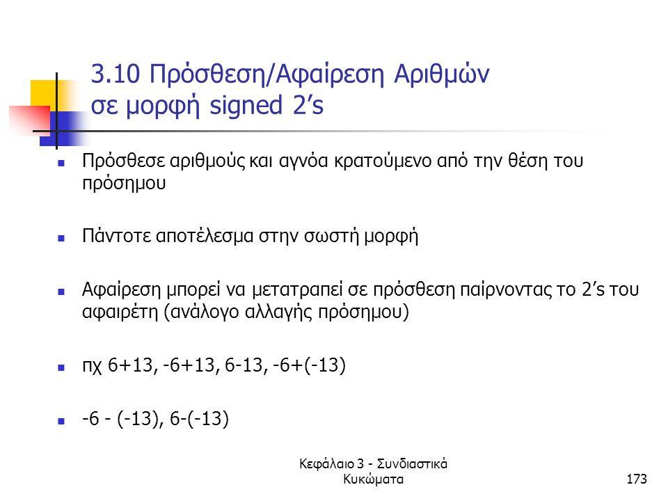 Κεφάλαιο 3 - Συνδιαστικά Κυκώματα173 3.10 Πρόσθεση/Αφαίρεση Αριθμών σε μορφή signed 2's Πρόσθεσε αριθμούς και αγνόα κρατούμενο από την θέση του πρόσημ