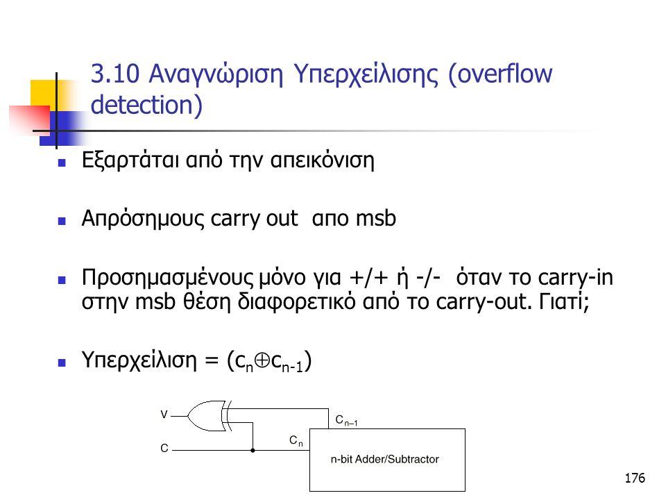 Κεφάλαιο 3 - Συνδιαστικά Κυκώματα176 3.10 Αναγνώριση Υπερχείλισης (overflow detection) Eξαρτάται από την απεικόνιση Απρόσημους carry out απο msb Προση