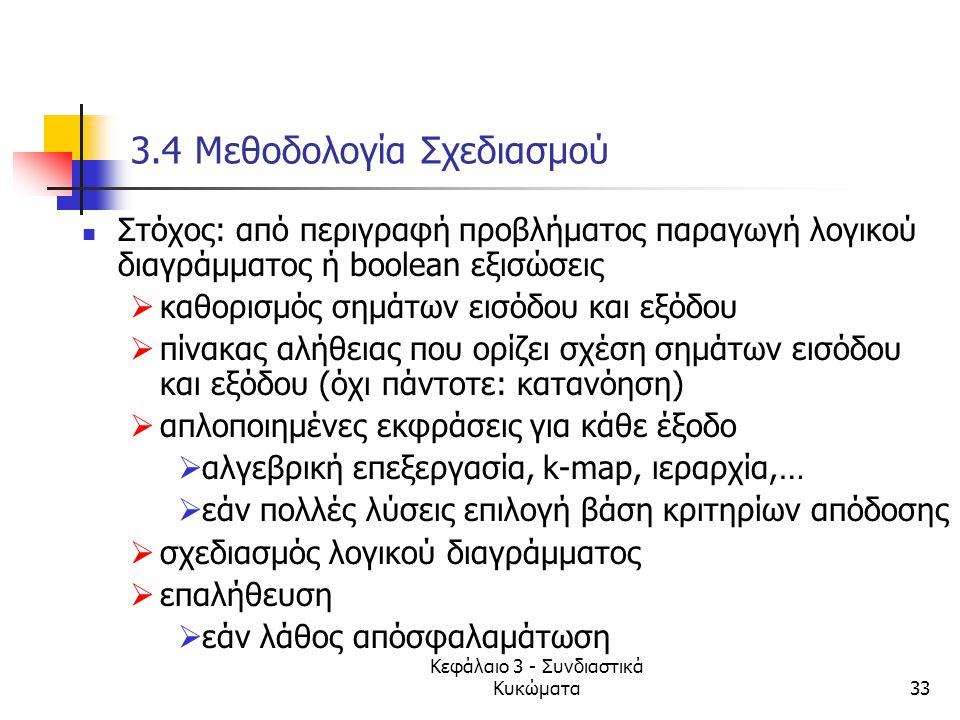 Κεφάλαιο 3 - Συνδιαστικά Κυκώματα33 3.4 Μεθοδολογία Σχεδιασμού Στόχος: από περιγραφή προβλήματος παραγωγή λογικού διαγράμματος ή boolean εξισώσεις  κ