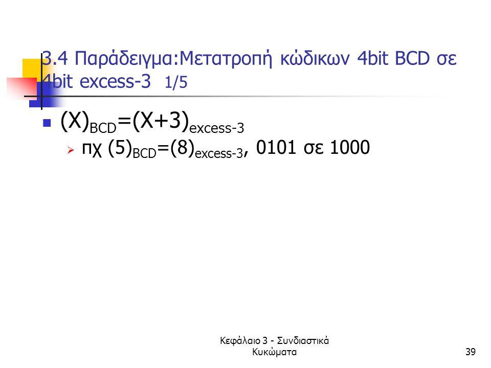 Κεφάλαιο 3 - Συνδιαστικά Κυκώματα39 3.4 Παράδειγμα:Μετατροπή κώδικων 4bit ΒCD σε 4bit excess-3 1/5 (X) ΒCD =(X+3) excess-3  πχ (5) ΒCD =(8) excess-3,