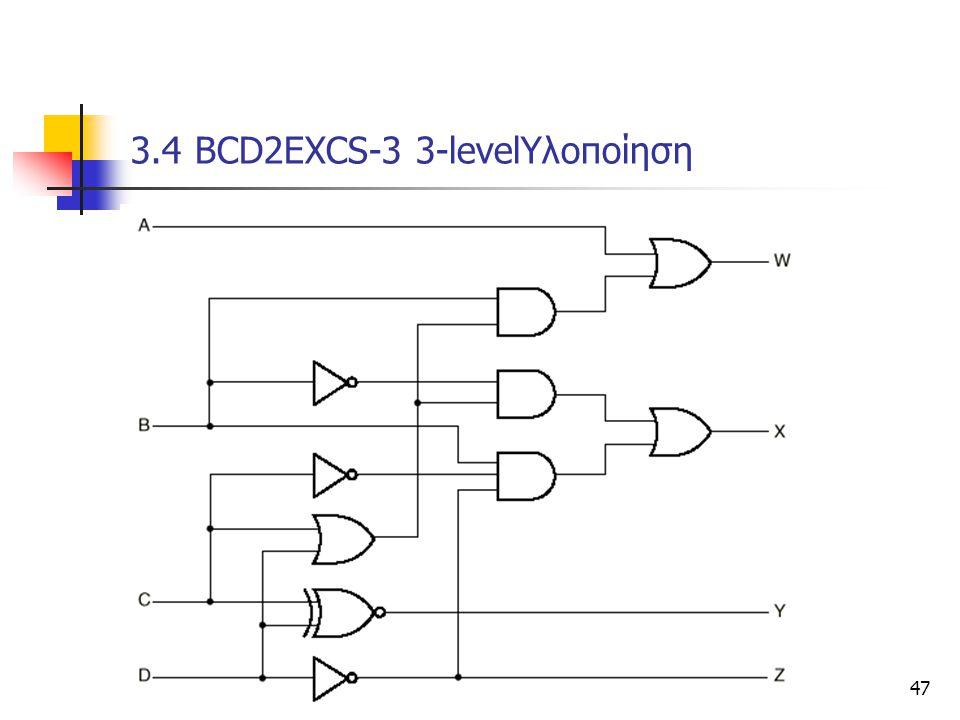 Κεφάλαιο 3 - Συνδιαστικά Κυκώματα47 3.4 ΒCD2EXCS-3 3-levelΥλοποίηση