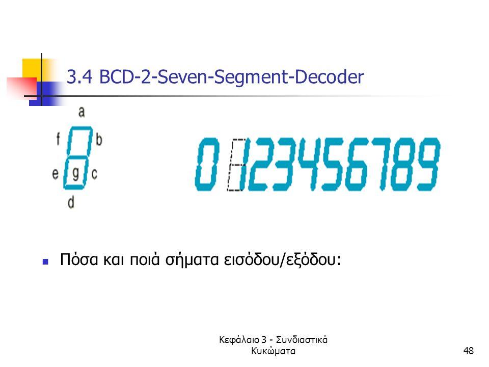 Κεφάλαιο 3 - Συνδιαστικά Κυκώματα48 3.4 BCD-2-Seven-Segment-Decoder Πόσα και ποιά σήματα εισόδου/εξόδου: