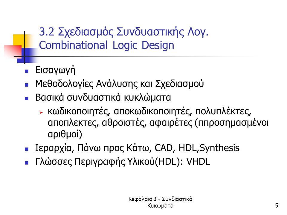 Κεφάλαιο 3 - Συνδιαστικά Κυκώματα5 3.2 Σχεδιασμός Συνδυαστικής Λογ. Combinational Logic Design Εισαγωγή Mεθοδολογίες Ανάλυσης και Σχεδιασμού Βασικά συ