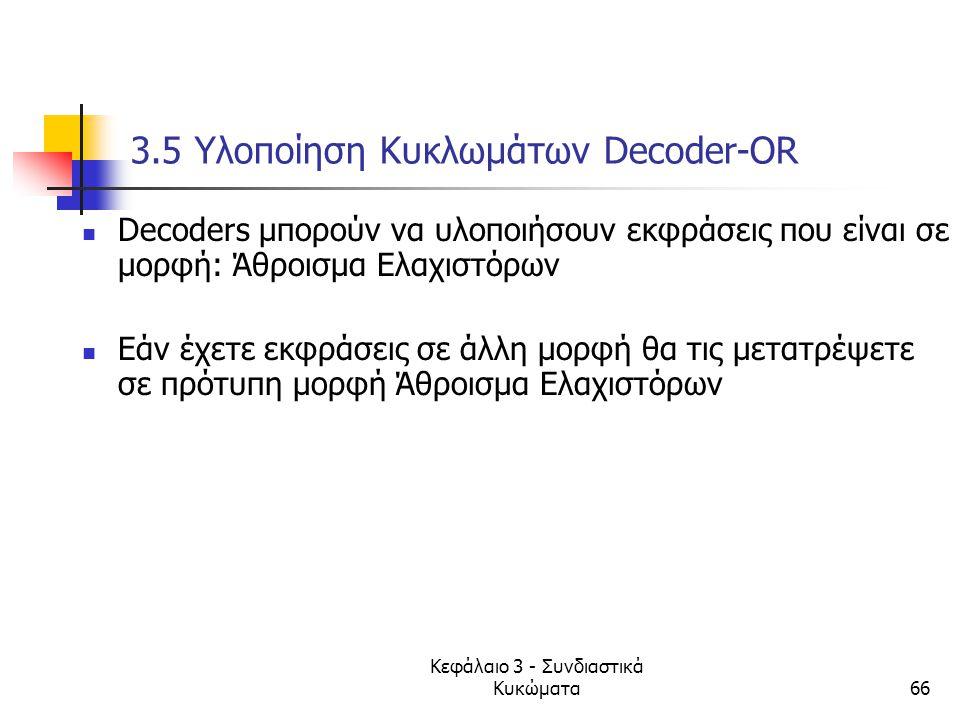 Κεφάλαιο 3 - Συνδιαστικά Κυκώματα66 3.5 Υλοποίηση Κυκλωμάτων Decoder-OR Decoders μπορούν να υλοποιήσουν εκφράσεις που είναι σε μορφή: Άθροισμα Ελαχιστ