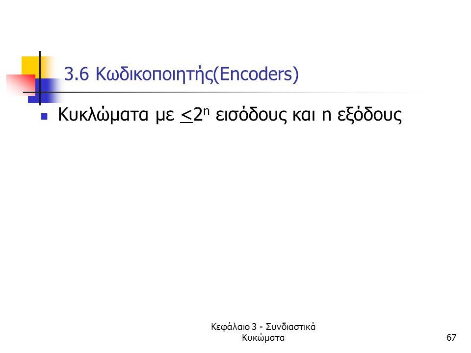 Κεφάλαιο 3 - Συνδιαστικά Κυκώματα67 3.6 Κωδικοποιητής(Encoders) Κυκλώματα με <2 n εισόδους και n εξόδους
