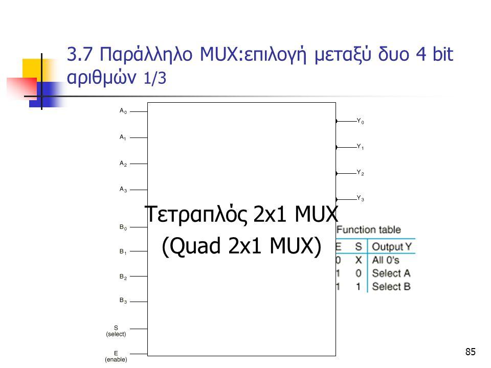 Κεφάλαιο 3 - Συνδιαστικά Κυκώματα85 3.7 Παράλληλο ΜUX:επιλογή μεταξύ δυο 4 bit αριθμών 1/3 Tετραπλός 2x1 ΜUX (Quad 2x1 MUX)