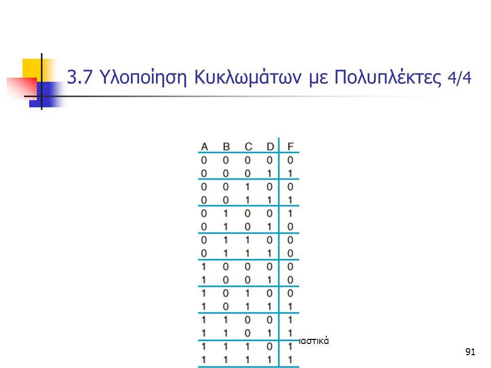Κεφάλαιο 3 - Συνδιαστικά Κυκώματα91 3.7 Υλοποίηση Κυκλωμάτων με Πολυπλέκτες 4/4