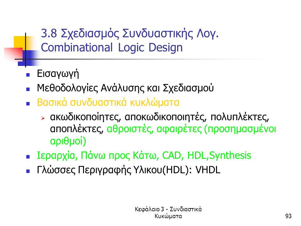 Κεφάλαιο 3 - Συνδιαστικά Κυκώματα93 3.8 Σχεδιασμός Συνδυαστικής Λογ. Combinational Logic Design Εισαγωγή Mεθοδολογίες Ανάλυσης και Σχεδιασμού Βασικά σ