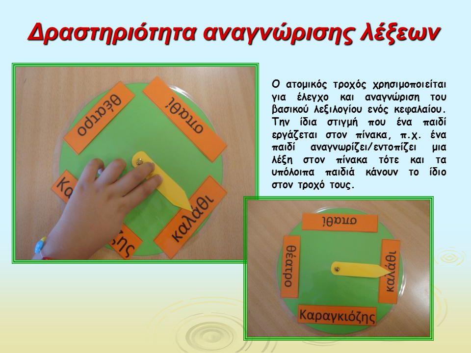 Δραστηριότητα αναγνώρισης λέξεων Ο ατομικός τροχός χρησιμοποιείται για έλεγχο και αναγνώριση του βασικού λεξιλογίου ενός κεφαλαίου. Την ίδια στιγμή πο