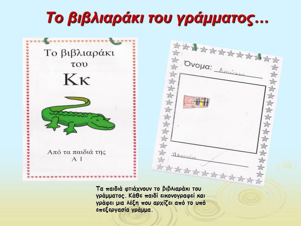 Το βιβλιαράκι του γράμματος… Τα παιδιά φτιάχνουν το βιβλιαράκι του γράμματος. Κάθε παιδί εικονογραφεί και γράφει μια λέξη που αρχίζει από το υπό επεξε