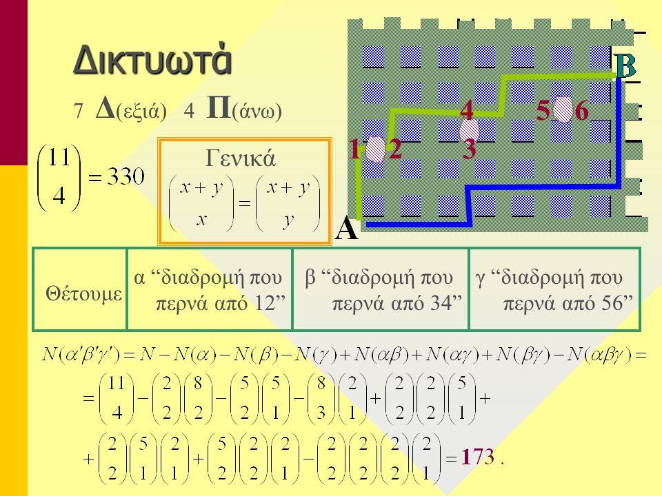 """Δικτυωτά 7 Δ (εξιά) 4 Π (άνω) Γενικά 12 56 3 4 α """"διαδρομή που περνά από 12"""" γ """"διαδρομή που περνά από 56"""" β """"διαδρομή που περνά από 34"""" Θέτουμε"""