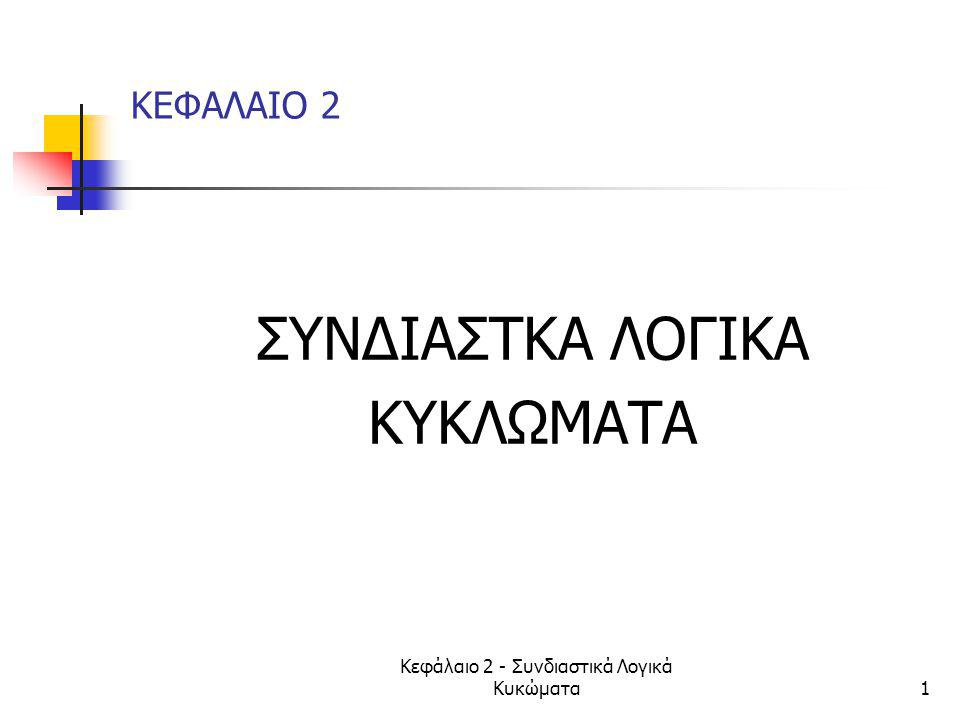 Κεφάλαιο 2 - Συνδιαστικά Λογικά Κυκώματα52 2.3 Eλαχιστοροι(minterms) 5/5  Minterm:γινόμενο με όλες τις μεταβλητές  2 n ελαχιστοροι όταν έχουμε n μεταβλητές  πχ με 3 μεταβλητές Χ,Υ,Ζ: 8 ελαχιστοροι