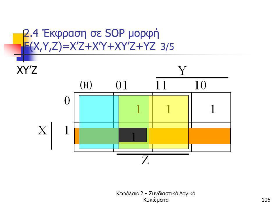 Κεφάλαιο 2 - Συνδιαστικά Λογικά Κυκώματα106 2.4 Έκφραση σε SOP μορφή F(Χ,Υ,Ζ)=X'Z+X'Y+XY'Z+YZ 3/5 ΧΥ'Ζ 111 1
