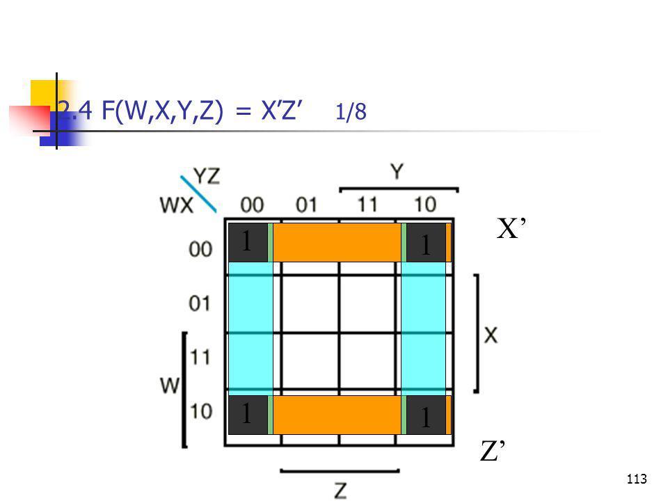 Κεφάλαιο 2 - Συνδιαστικά Λογικά Κυκώματα113 2.4 F(W,X,Y,Z) = X'Z' 1/8 X'Z' 1 1 1 1