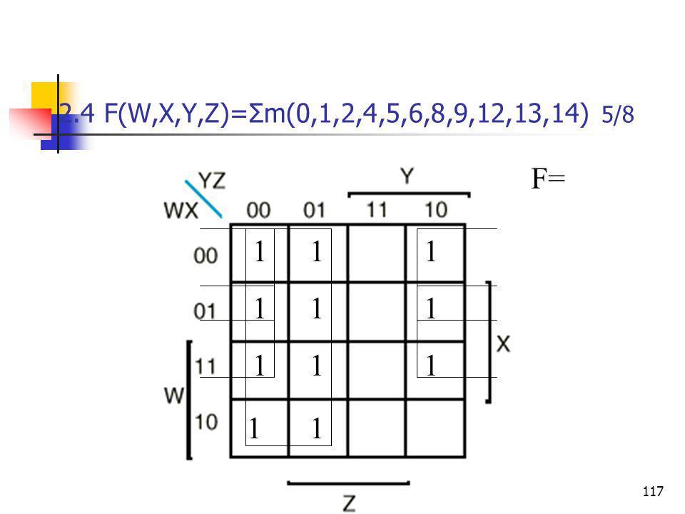 Κεφάλαιο 2 - Συνδιαστικά Λογικά Κυκώματα117 2.4 F(W,X,Y,Z)=Σm(0,1,2,4,5,6,8,9,12,13,14) 5/8 111 11 1 1 1 1 11 F=