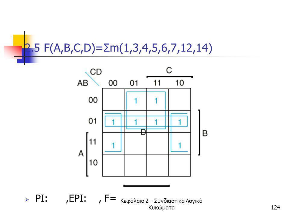 Κεφάλαιο 2 - Συνδιαστικά Λογικά Κυκώματα124 2.5 F(A,B,C,D)=Σm(1,3,4,5,6,7,12,14)  PI:,EPI:, F=