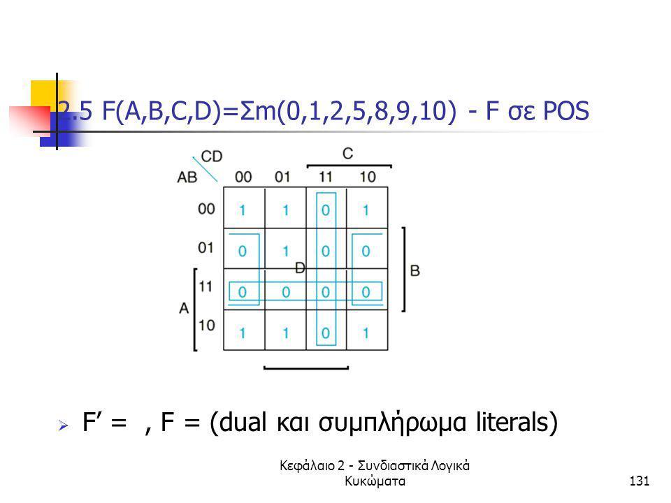 Κεφάλαιο 2 - Συνδιαστικά Λογικά Κυκώματα131 2.5 F(A,B,C,D)=Σm(0,1,2,5,8,9,10) - F σε POS  F' =, F = (dual και συμπλήρωμα literals)