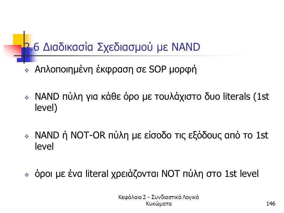 Κεφάλαιο 2 - Συνδιαστικά Λογικά Κυκώματα146 2.6 Διαδικασία Σχεδιασμού με NAND  Απλοποιημένη έκφραση σε SOP μορφή  ΝΑΝD πύλη για κάθε όρο με τουλάχισ