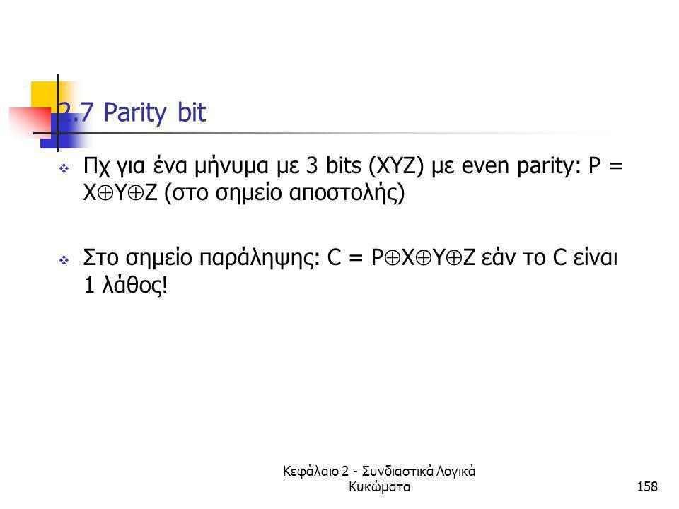 Κεφάλαιο 2 - Συνδιαστικά Λογικά Κυκώματα158 2.7 Parity bit  Πχ για ένα μήνυμα με 3 bits (ΧΥΖ) με even parity: P = X  Υ  Ζ (στο σημείο αποστολής) 