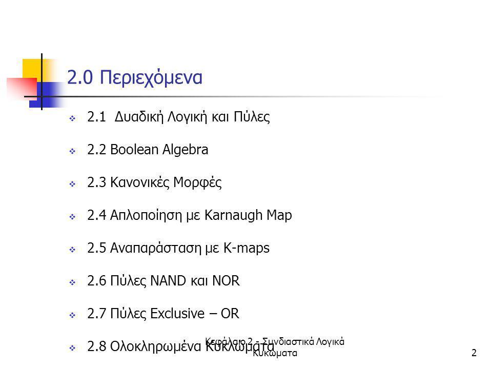 Κεφάλαιο 2 - Συνδιαστικά Λογικά Κυκώματα53 2.3 Mεγιστοροι (Μaxterms) 1/5  Maxterm: άθροισμα με όλες τις μεταβλητές  2 n μεγιστοροι όταν έχουμε n μεταβλητές  πχ με 3 μεταβλητές Χ,Υ,Ζ: 8 μεγιστοροι