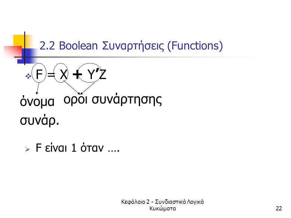 Κεφάλαιο 2 - Συνδιαστικά Λογικά Κυκώματα22 2.2 Βοοlean Συναρτήσεις (Functions)  F = X + Y ' Z  F είναι 1 όταν …. όνομα συνάρ. οροι συνάρτησης
