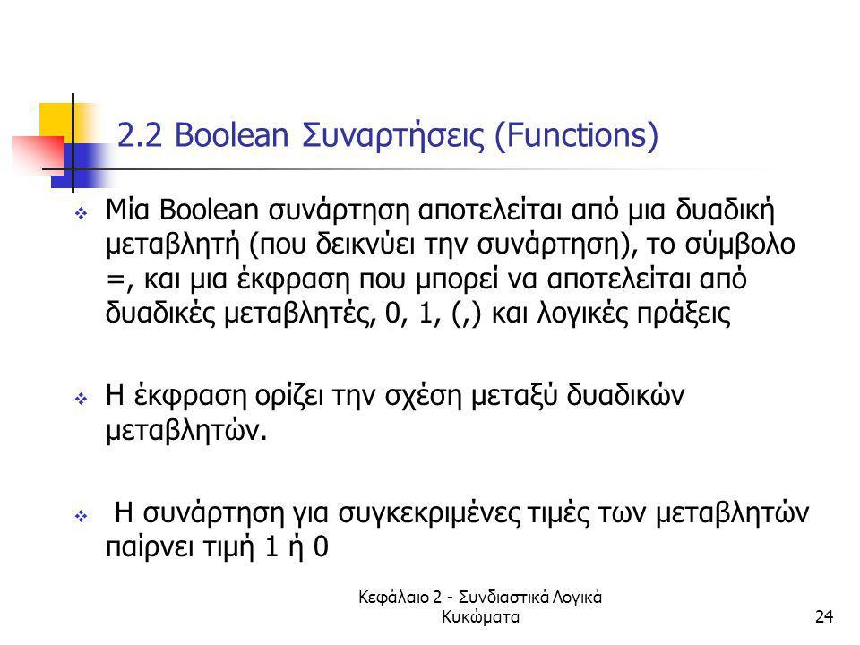 Κεφάλαιο 2 - Συνδιαστικά Λογικά Κυκώματα24 2.2 Βοοlean Συναρτήσεις (Functions)  Mία Βοοlean συνάρτηση αποτελείται από μια δυαδική μεταβλητή (που δεικ