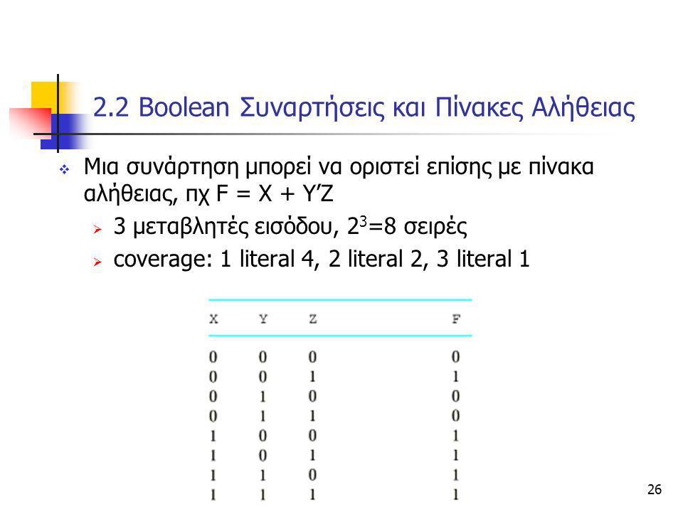 Κεφάλαιο 2 - Συνδιαστικά Λογικά Κυκώματα26 2.2 Βοοlean Συναρτήσεις και Πίνακες Αλήθειας  Μια συνάρτηση μπορεί να οριστεί επίσης με πίνακα αλήθειας, π