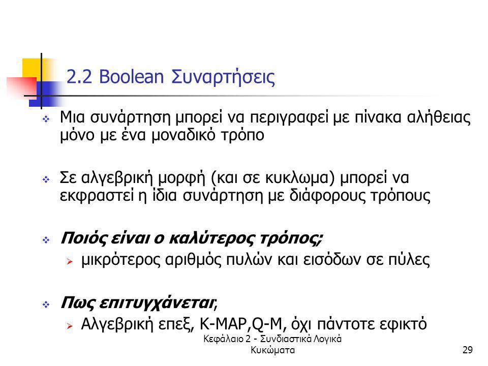 Κεφάλαιο 2 - Συνδιαστικά Λογικά Κυκώματα29 2.2 Βοοlean Συναρτήσεις  Μια συνάρτηση μπορεί να περιγραφεί με πίνακα αλήθειας μόνο με ένα μοναδικό τρόπο