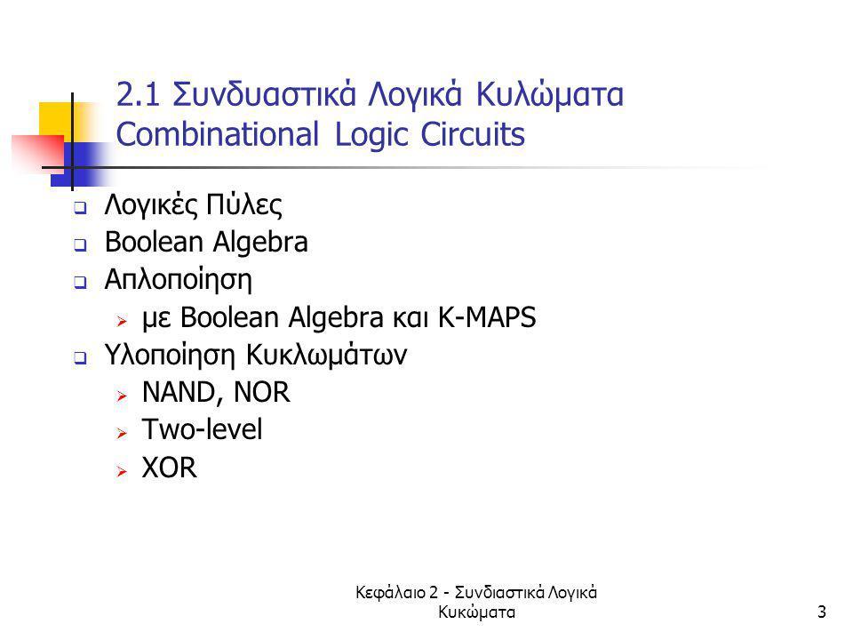 Κεφάλαιο 2 - Συνδιαστικά Λογικά Κυκώματα24 2.2 Βοοlean Συναρτήσεις (Functions)  Mία Βοοlean συνάρτηση αποτελείται από μια δυαδική μεταβλητή (που δεικνύει την συνάρτηση), το σύμβολο =, και μια έκφραση που μπορεί να αποτελείται από δυαδικές μεταβλητές, 0, 1, (,) και λογικές πράξεις  Η έκφραση ορίζει την σχέση μεταξύ δυαδικών μεταβλητών.